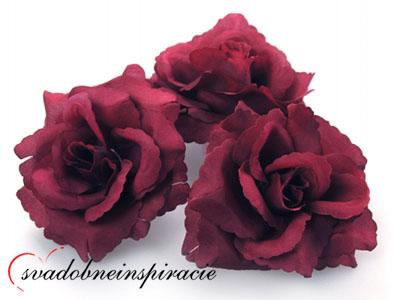 Dekoračné kvietky prilepovacie -ruže bordové(24ks) - Obrázok č. 1