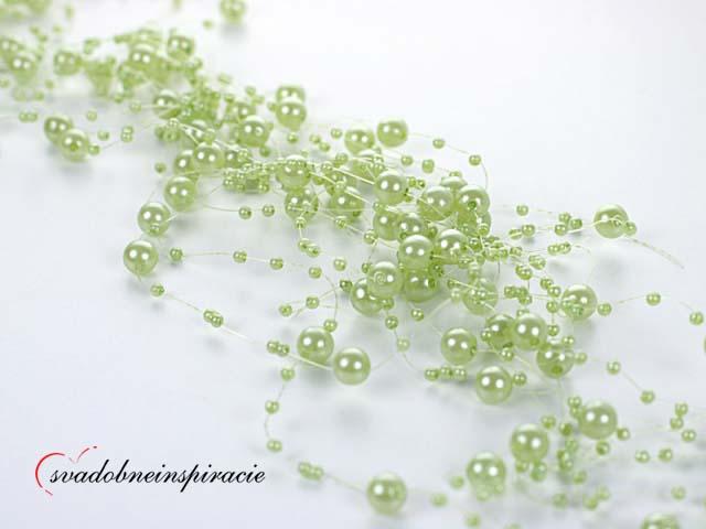 Perlová girlanda - zelená (5 ks) - Obrázok č. 1