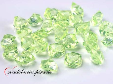Dekoračné kamienky Diamantíky - Zelené (50 ks) - Obrázok č. 1