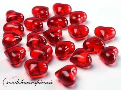 Dekoračné kamienky - srdiečka (červené), 30 ks  - Obrázok č. 1