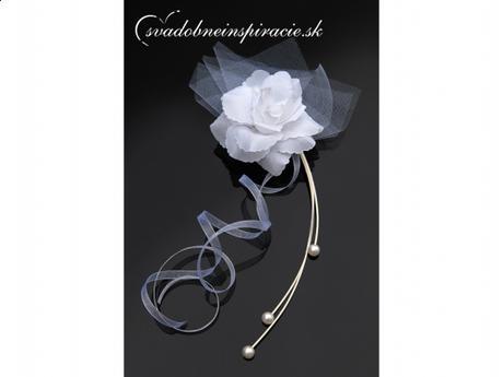 Svadobná ozdoba - Ratanová kytička s ružou (4 ks) - Obrázok č. 1