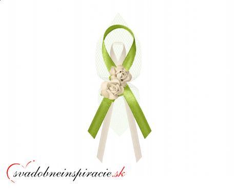 """Svadobné pierka """"Ružičky"""" - zelené - Obrázok č. 1"""