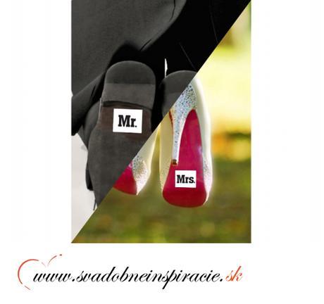 """Nálepky na topánky """"MR.&MRS."""" (2 ks) - Obrázok č. 2"""