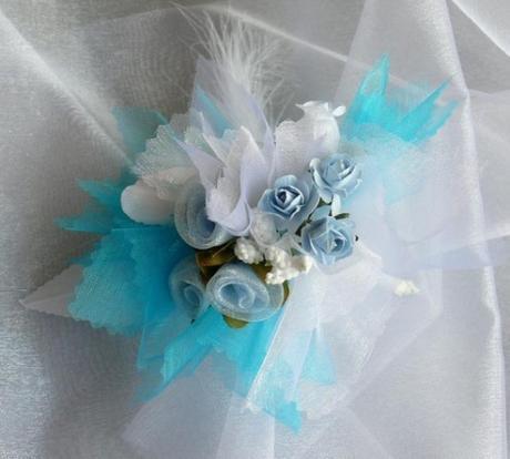 Kvetinový náramok n004 - tyrkysová - Obrázok č. 1