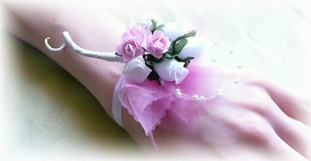 Kvetinový náramok NP003 - Ružová - Obrázok č. 1