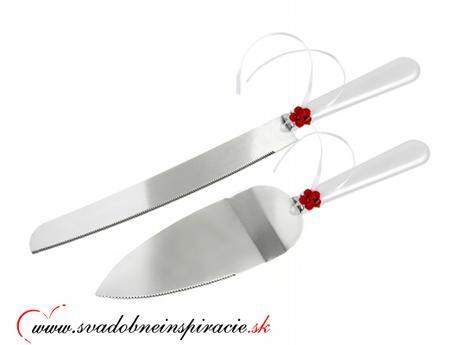 Lopatka a nôž na svadobnú tortu - Červená - Obrázok č. 1