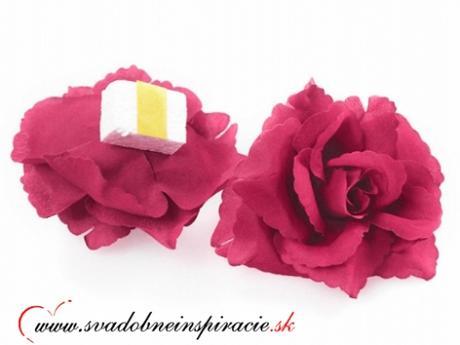 Dekoračné kvietky prilepovacie - RUŽE Fuchsia 24ks - Obrázok č. 2