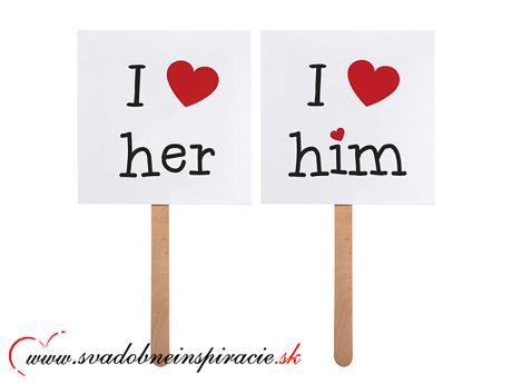 """Kartičky s nápisom """"I LOVE HIM, I LOVE HER"""" - Obrázok č. 1"""