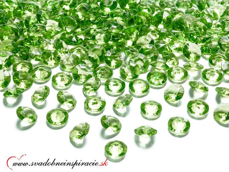 Dekoračné kamienky - DIAMANTÍKY malé (zelené), 100 - Obrázok č. 1