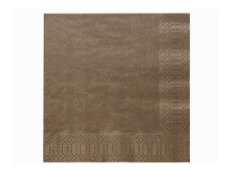 Servítky 3-vrstvové - hnedé (20 ks)  - Obrázok č. 1