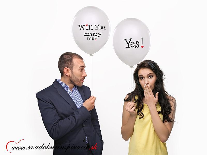 "Balóny ""WILL YOU MARRY ME"" - Biele (10 ks)  - Obrázok č. 1"