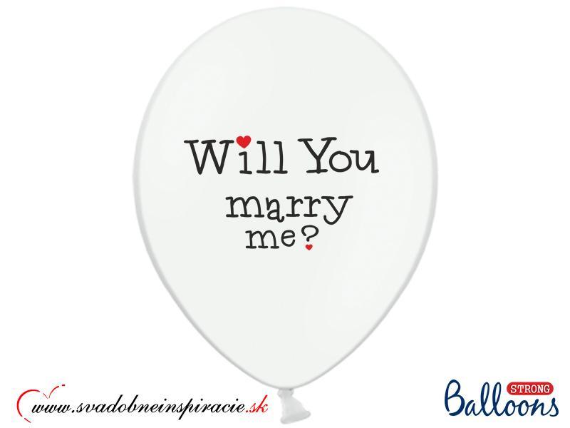 "Balóny ""WILL YOU MARRY ME"" - Biele (10 ks)  - Obrázok č. 2"