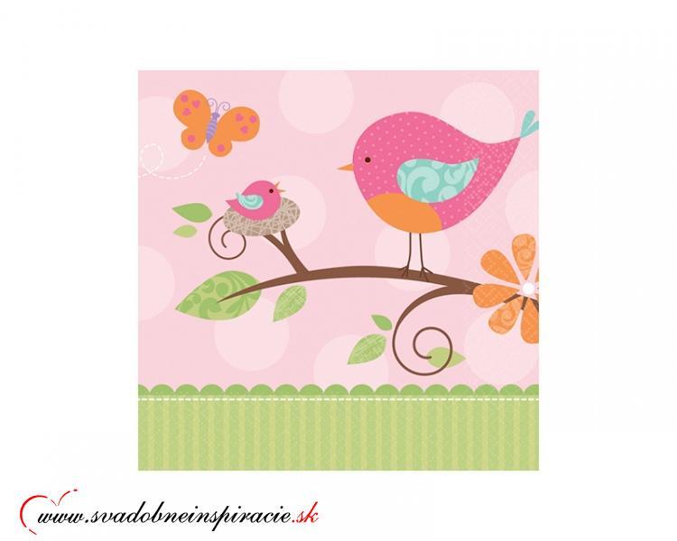 Detské servítky TWEET BABY - Ružové (16 ks) - Obrázok č. 1