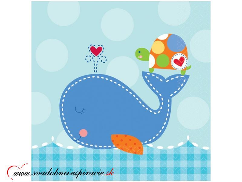 Detské servítky AHOY BABY - Modré (16 ks) - Obrázok č. 1