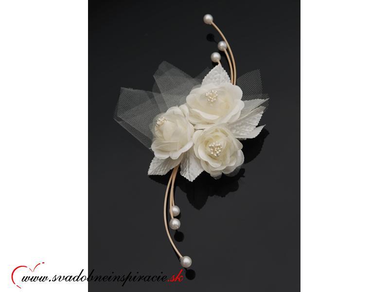 Ratanová kytička s ružou - SMOTANOVÁ (4 ks)  - Obrázok č. 1