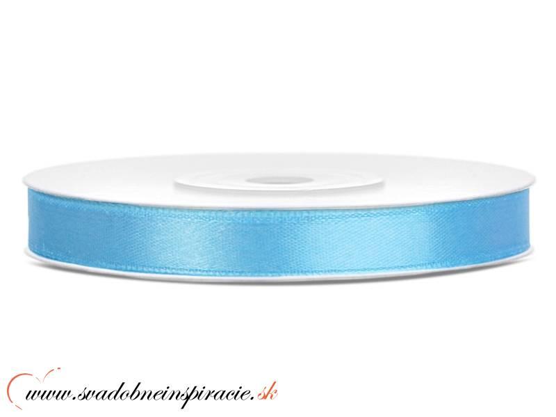 Ozdobná saténová stuha - SVETLOMODRÁ (0,6 cm)  - Obrázok č. 1