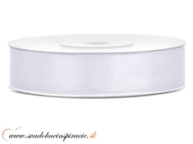 Ozdobná saténová stuha 1,2 cm biela - Obrázok č. 1