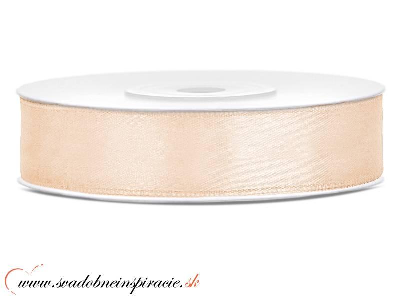 Ozdobná saténová stuha 1,2 cm svetlo hnedá - Obrázok č. 1