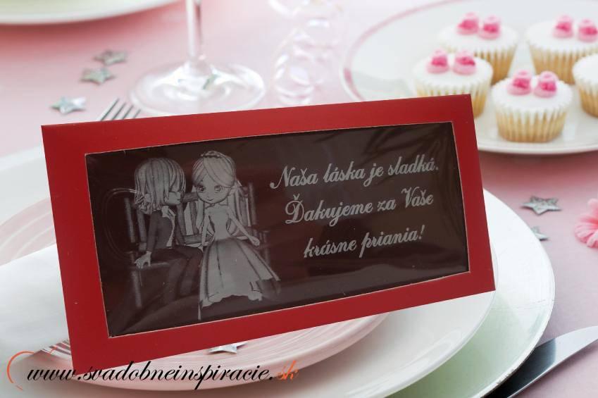 Svadobná čokoládka v kartóniku (10x5 cm) - Obrázok č. 1
