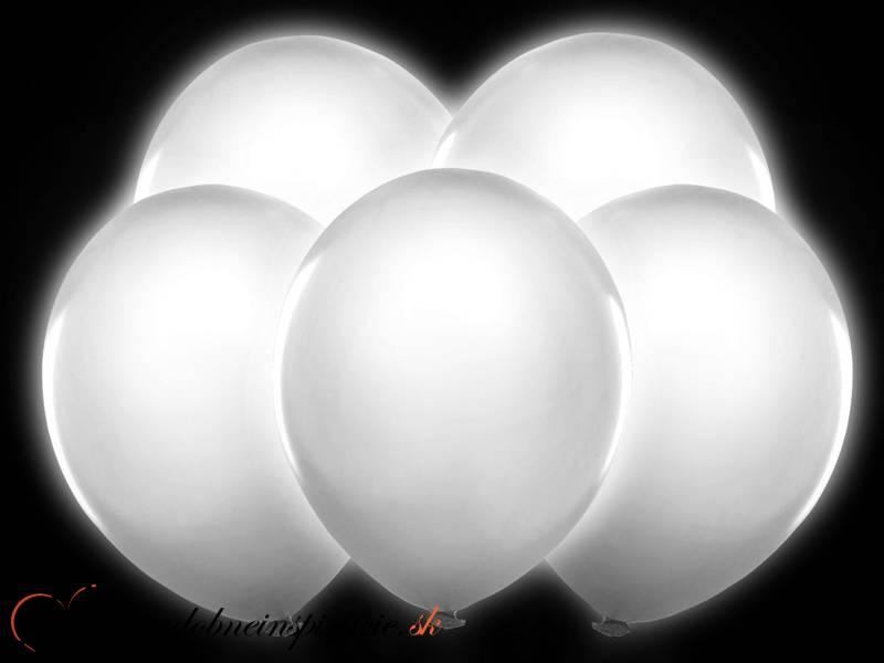 Balóny LED - BIELE (5 ks)  - Obrázok č. 1