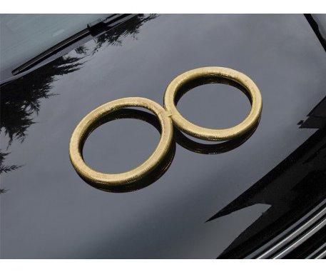 Svadobná ozdoba OBRÚČKY - Zlaté (2 ks) - Obrázok č. 1