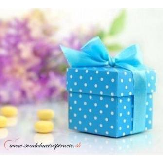 Krabičky na darčeky bodkované MODRÉ (10 ks) - Obrázok č. 1