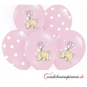 Balóny SLONÍKY - ružové (6 ks)  - Obrázok č. 1