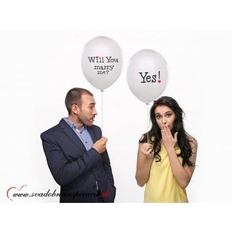 "Balóny ""WILL YOU MARRY ME"" - Biele (6 ks) - Obrázok č. 1"