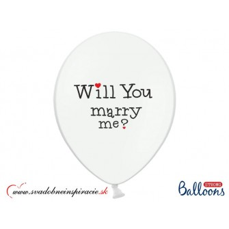 "Balóny ""WILL YOU MARRY ME"" - Biele (6 ks) - Obrázok č. 3"