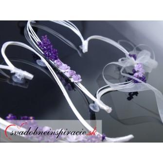 Ratanové srdiečka s ružou LEVANDUĽOVÉ (2 ks) - Obrázok č. 1