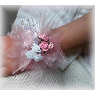 Dievčenský kvetinový náramok ND003 - RUŽOVÁ,BIELA - Obrázok č. 1