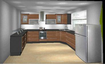 Moje pokusy o vizualizácie kuchyne - v hnedom prevedení. Samozrejme, ten pult nejde do steny, ale je tam otvoreny priestor, len to mi už akosi nešlo :)