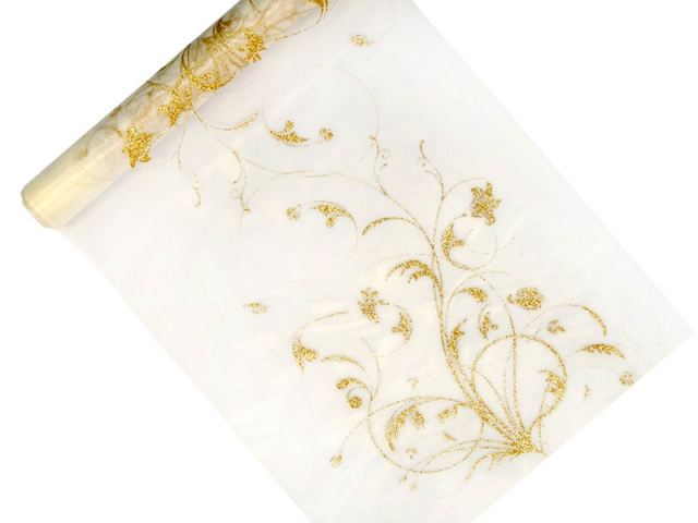 Organza 36 cm x 9 m ivory s ornamentem - Obrázek č. 1