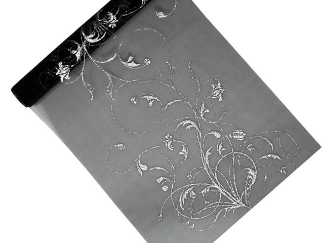 Organza 36 cm x 9 m černá s ornamentem - Obrázek č. 1