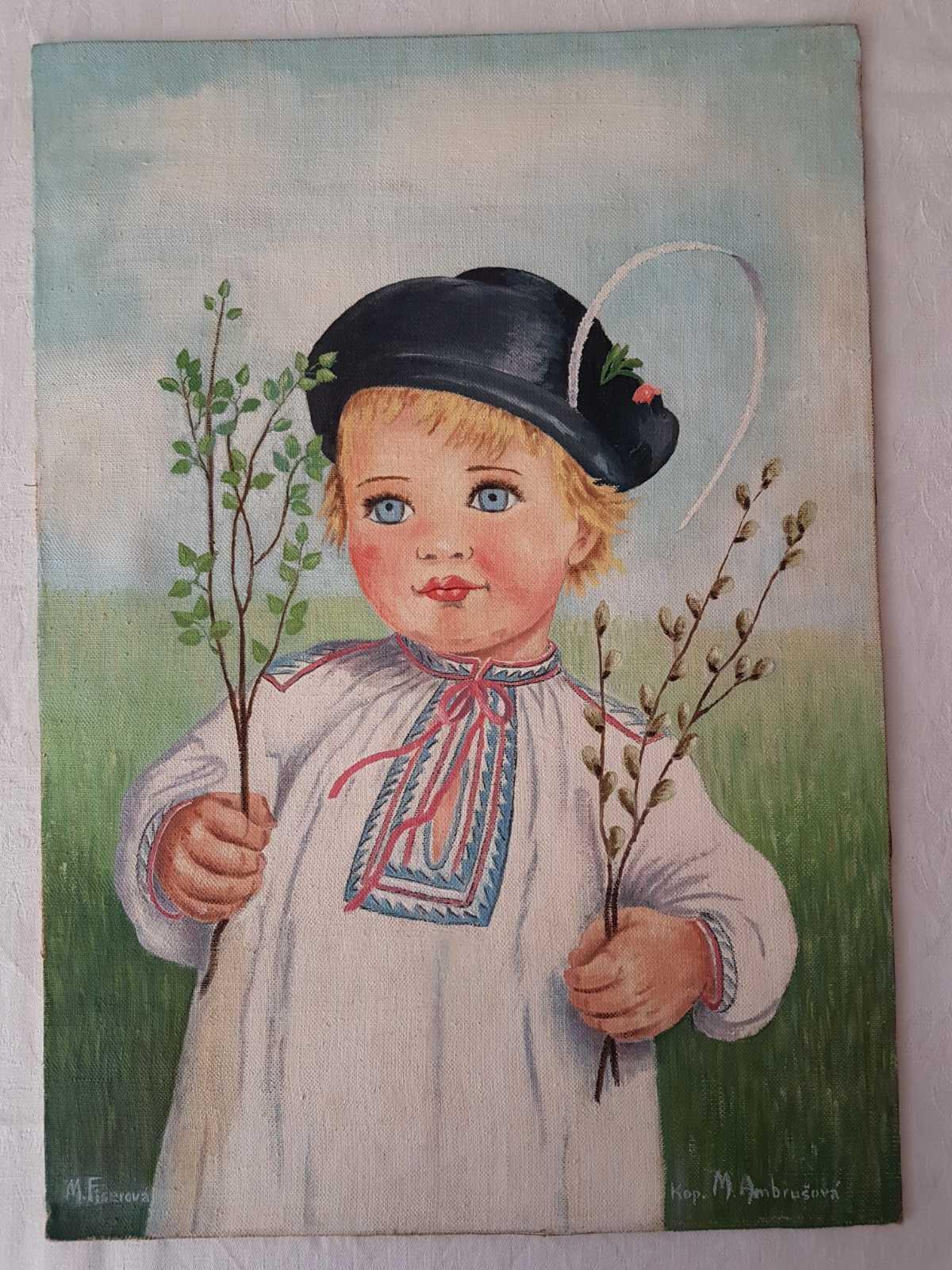 Ručne maľovaný obraz z roku 1950, 40x50cm - Obrázok č. 1