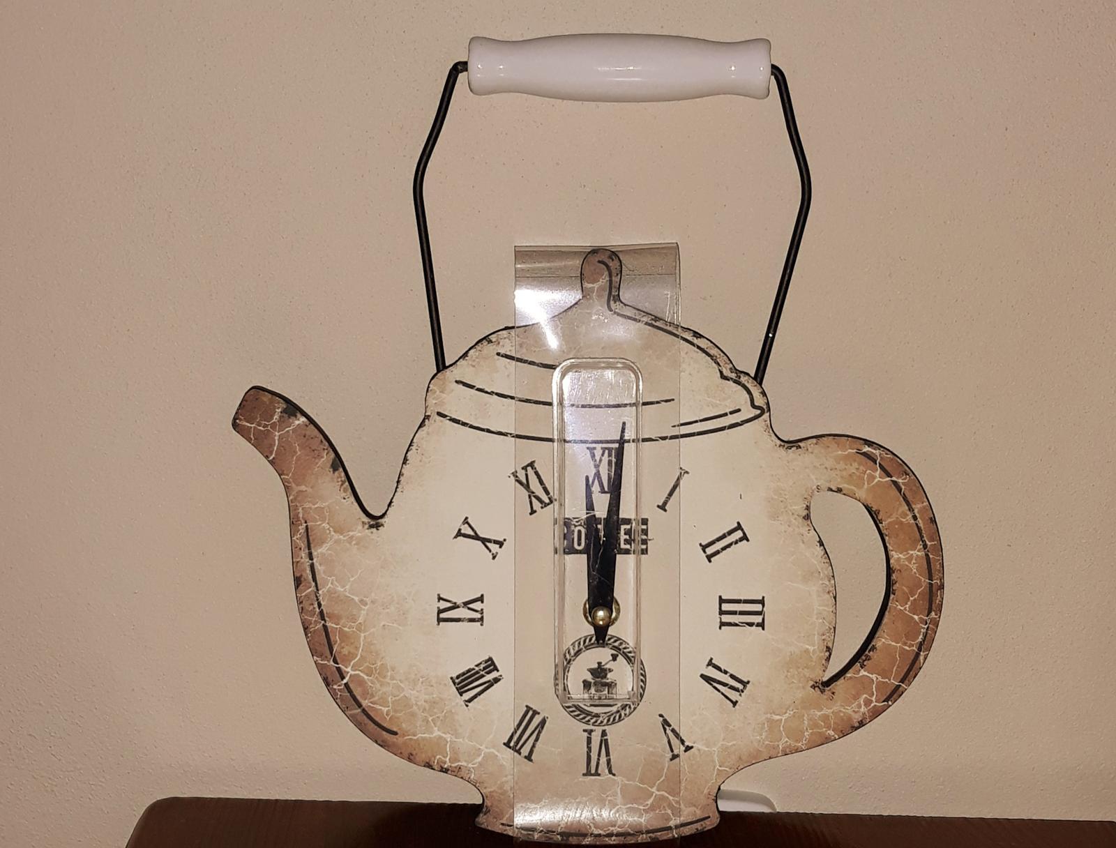 Nástenné hodiny čajník-vidiecky/vintage štýl - Obrázok č. 1