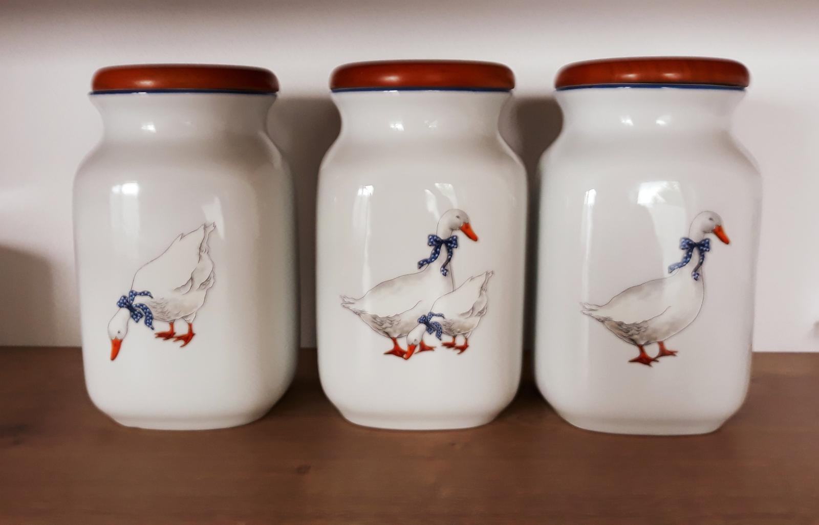 3x dóza(1l)na múku/cukor-pravý český porcelán - Obrázok č. 1