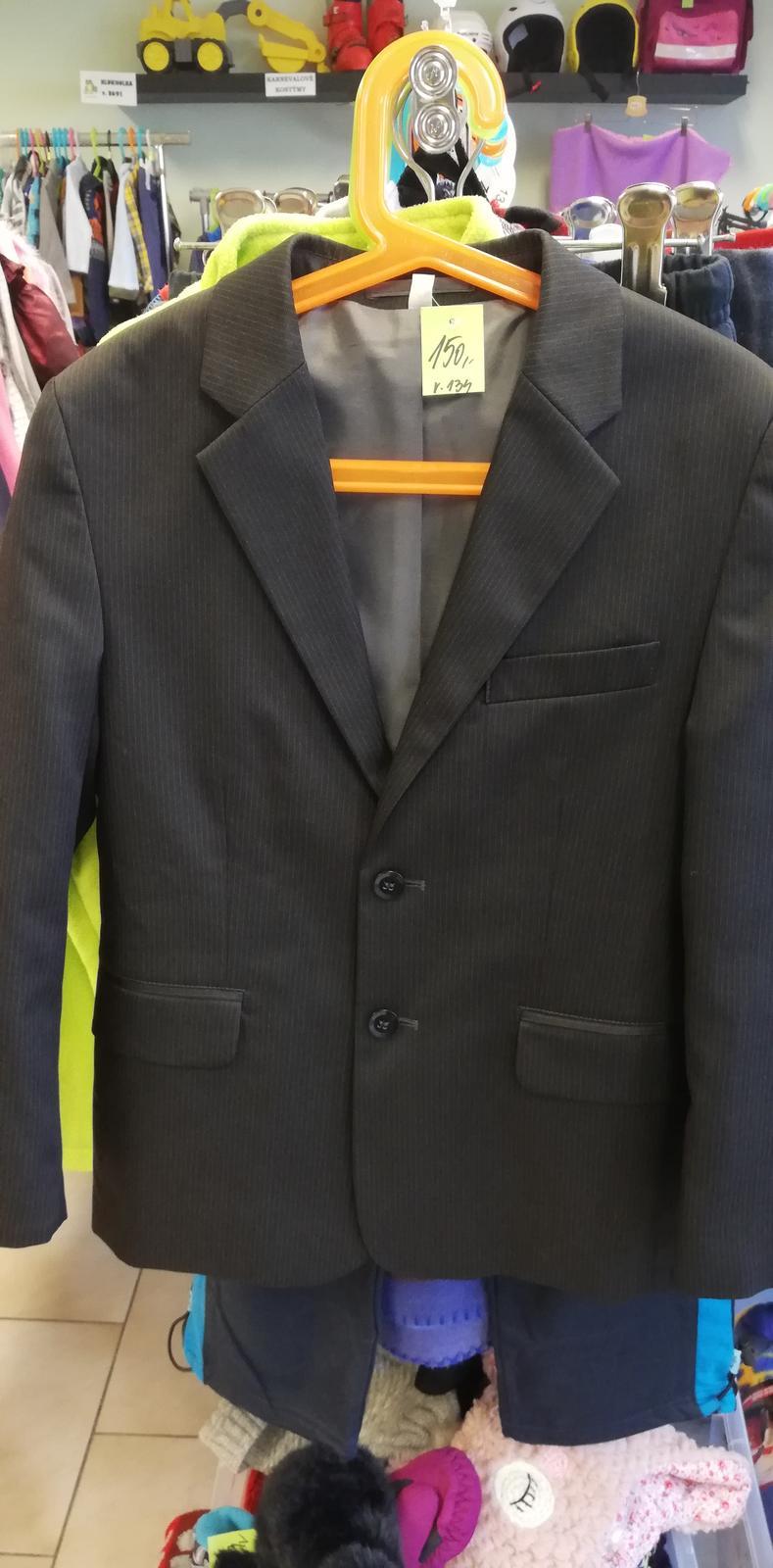Černé sako s proužkem vel. 134 - Obrázek č. 1