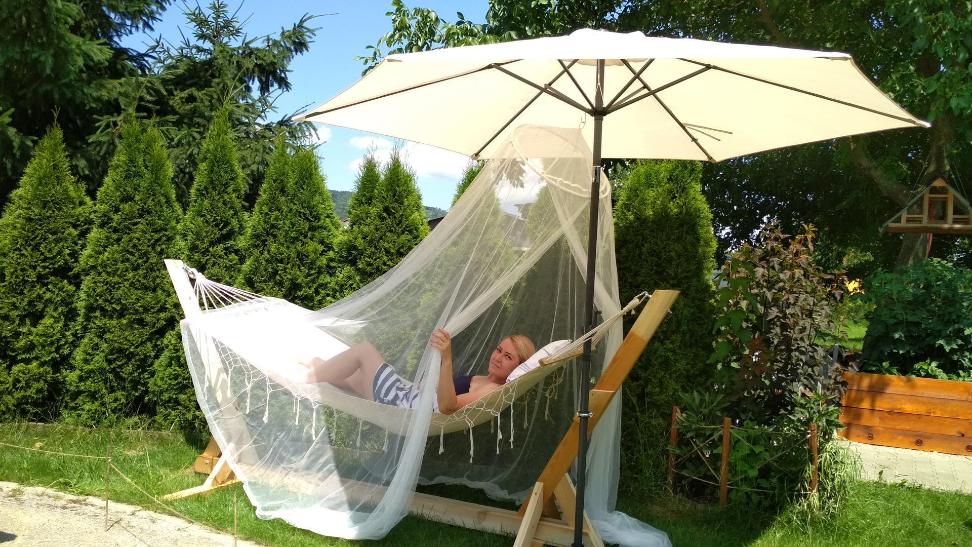 Drevený stojan na hojdaciu sieť... relax v záhrade - Obrázok č. 4