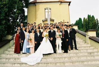 všetci svadobný hostia pred kostolom