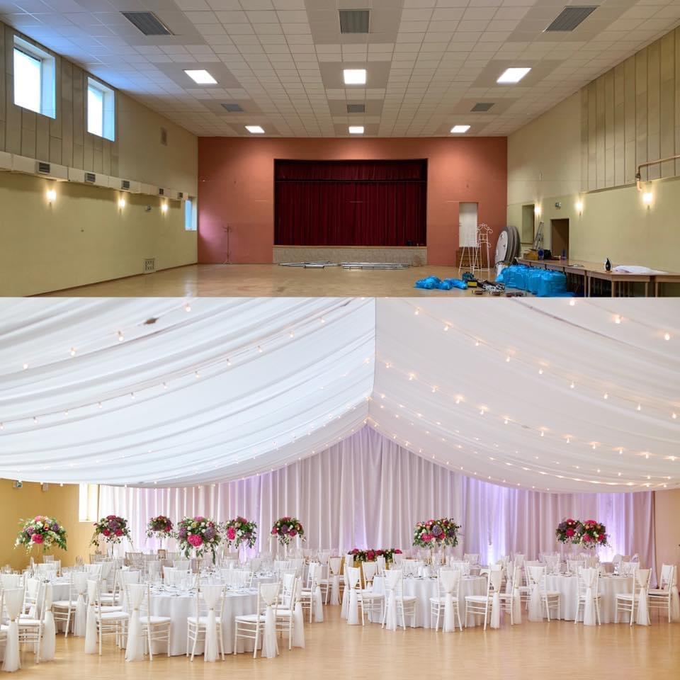 Svadobná výzdoba Kultúrny dom Vištuk, stanový efekt, baldachýny na strop - Svadobná výzdoba kultúrny dom Vištuk, prekrývanie stropu, premena