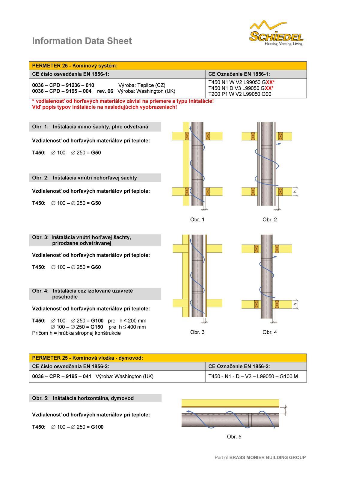 Aké sú bezpečné odstupy komínového telesa Schiedel PERMETER 25? - Obrázok č. 2