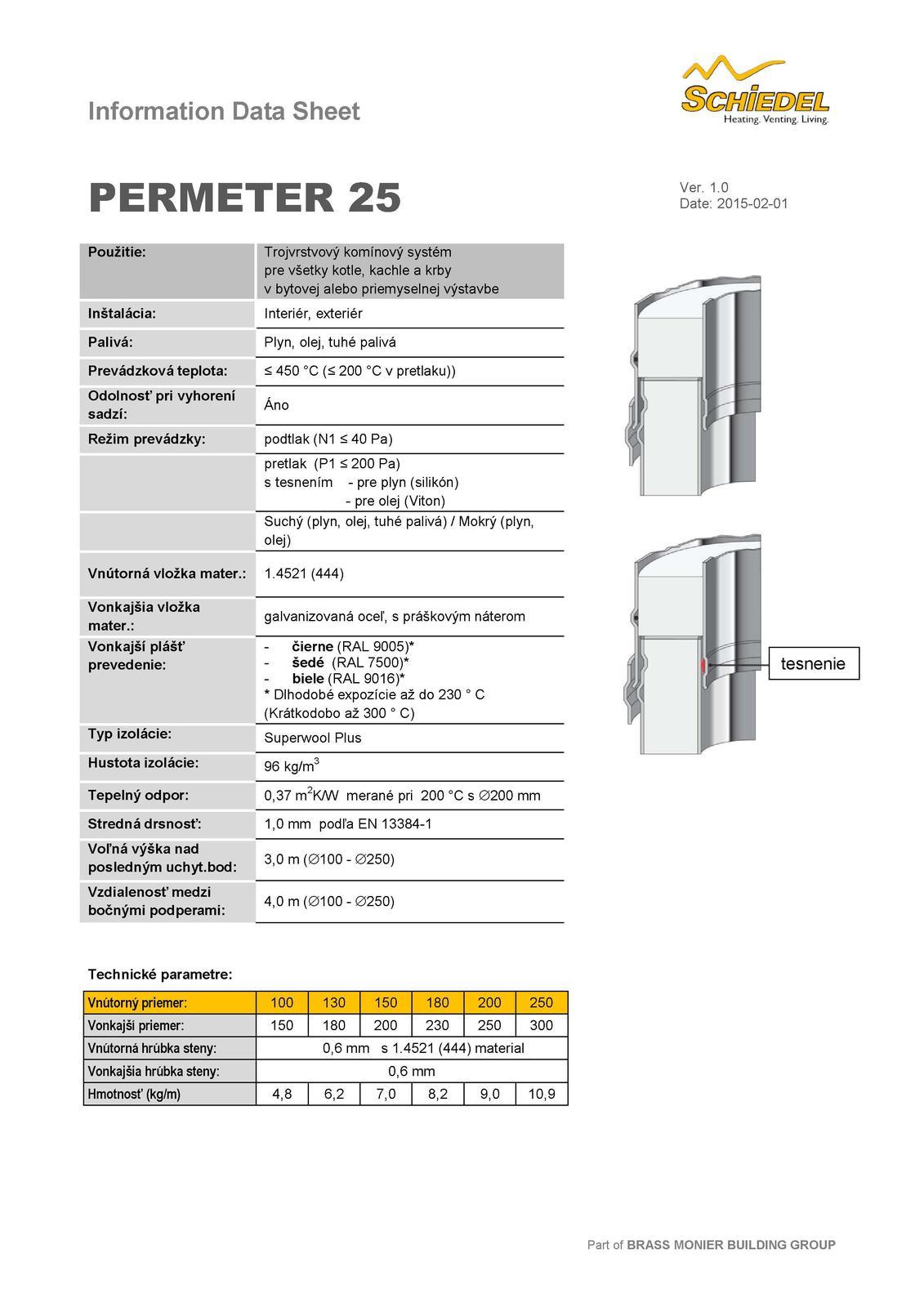 Aké sú bezpečné odstupy komínového telesa Schiedel PERMETER 25? - Obrázok č. 1