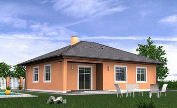Vybraný domeček, jen omítka do žluta, okna hnědotřešňová, střecha taktéž