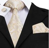 SET 2 - kravata, kapesníček a manžetové knoflíčky ,