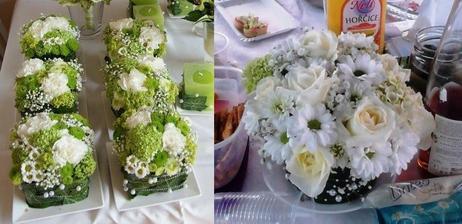 Růže a chryzantémy jsem koupila v Lidlu, spousta chryzantém mi ještě zbylo doma ve váze. V květinářství koupeny dva listy aspidistry?? a větev šáteru (nevěstina závoje). Na zahradě uškubnuty tři květy hortenzie.