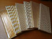 Zlatá papírová brčka 140ks,