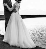 Svadobné šaty so zavojom (38/40), 38