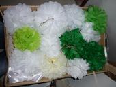 Sady pompoms zelené 3 velikosti,