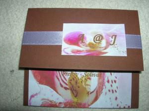 svadobné oznámenie(vlastná výroba),farby podľa výzdoby fialovo-čokoládová